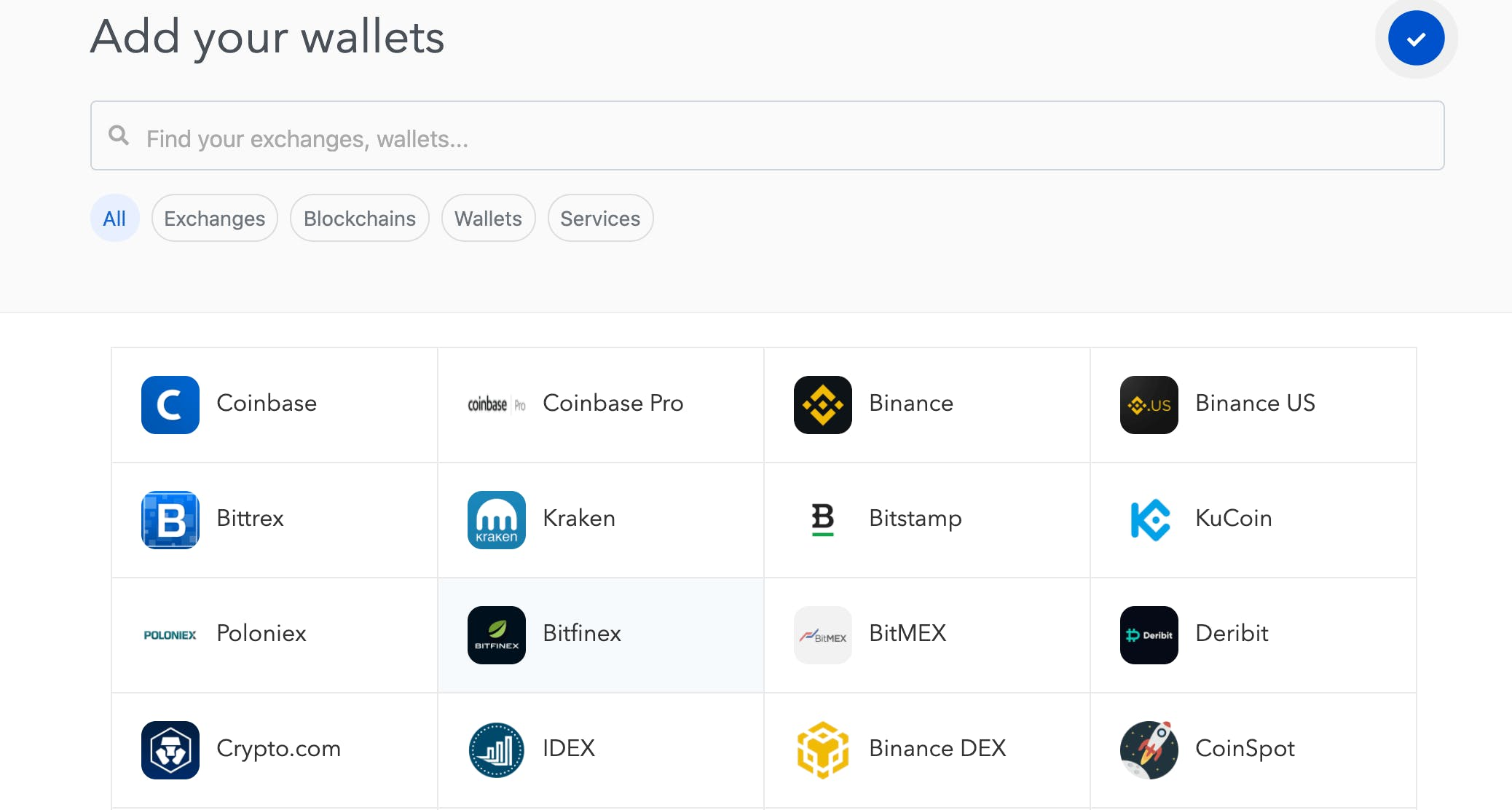Screengrab of Koinly crypto wallets and exchange setup page