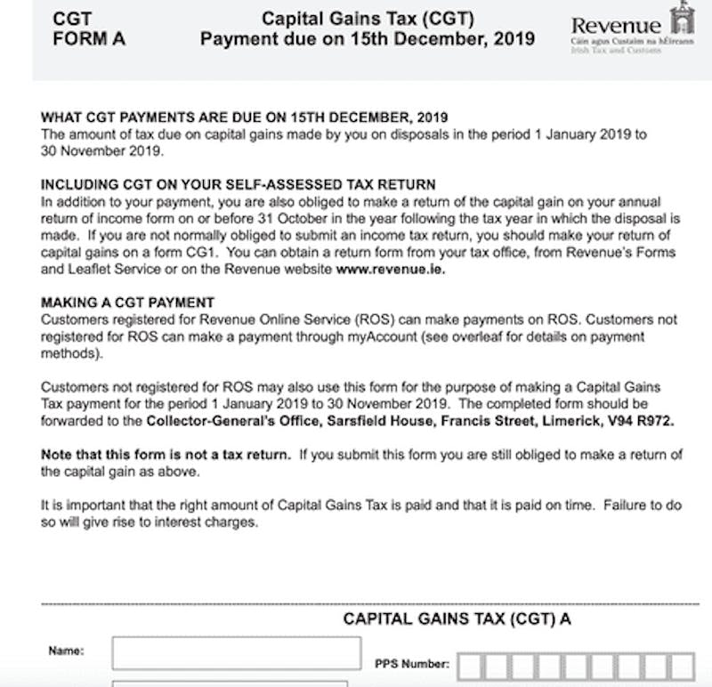Capital gains tax form A
