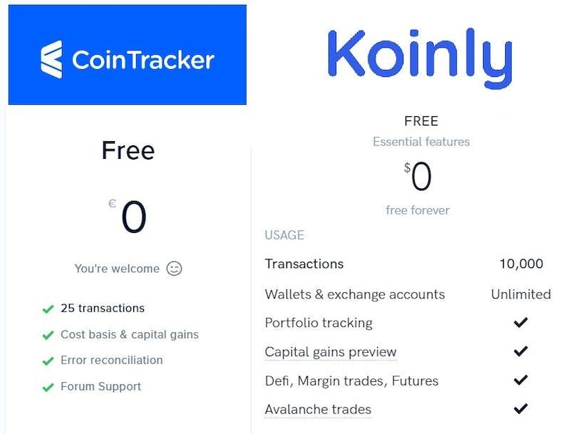 Koinly vs Cointracker price