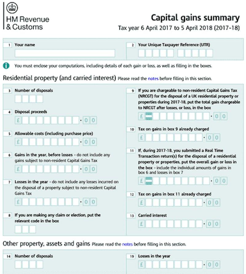 Capital gains summary