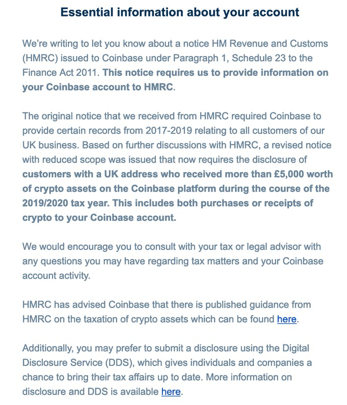 Tax hand over email to Coinbase