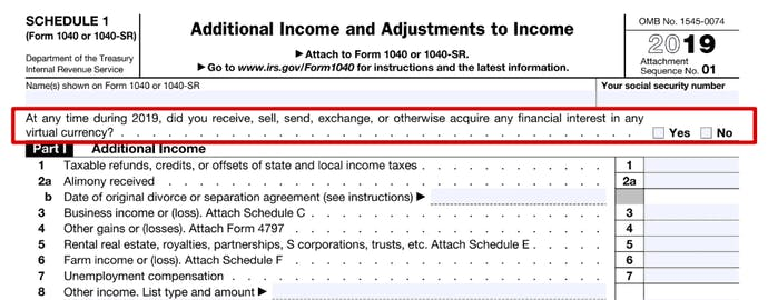 Tax reporting form 1040