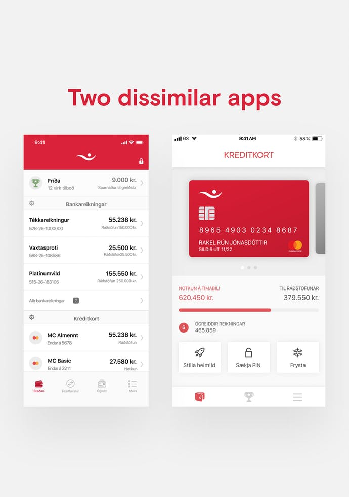 two screenshots of íslandsbanki app