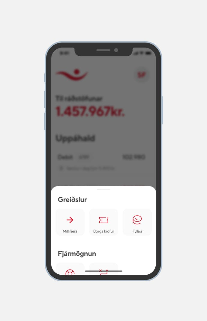 screenshot of Íslandsbanki app