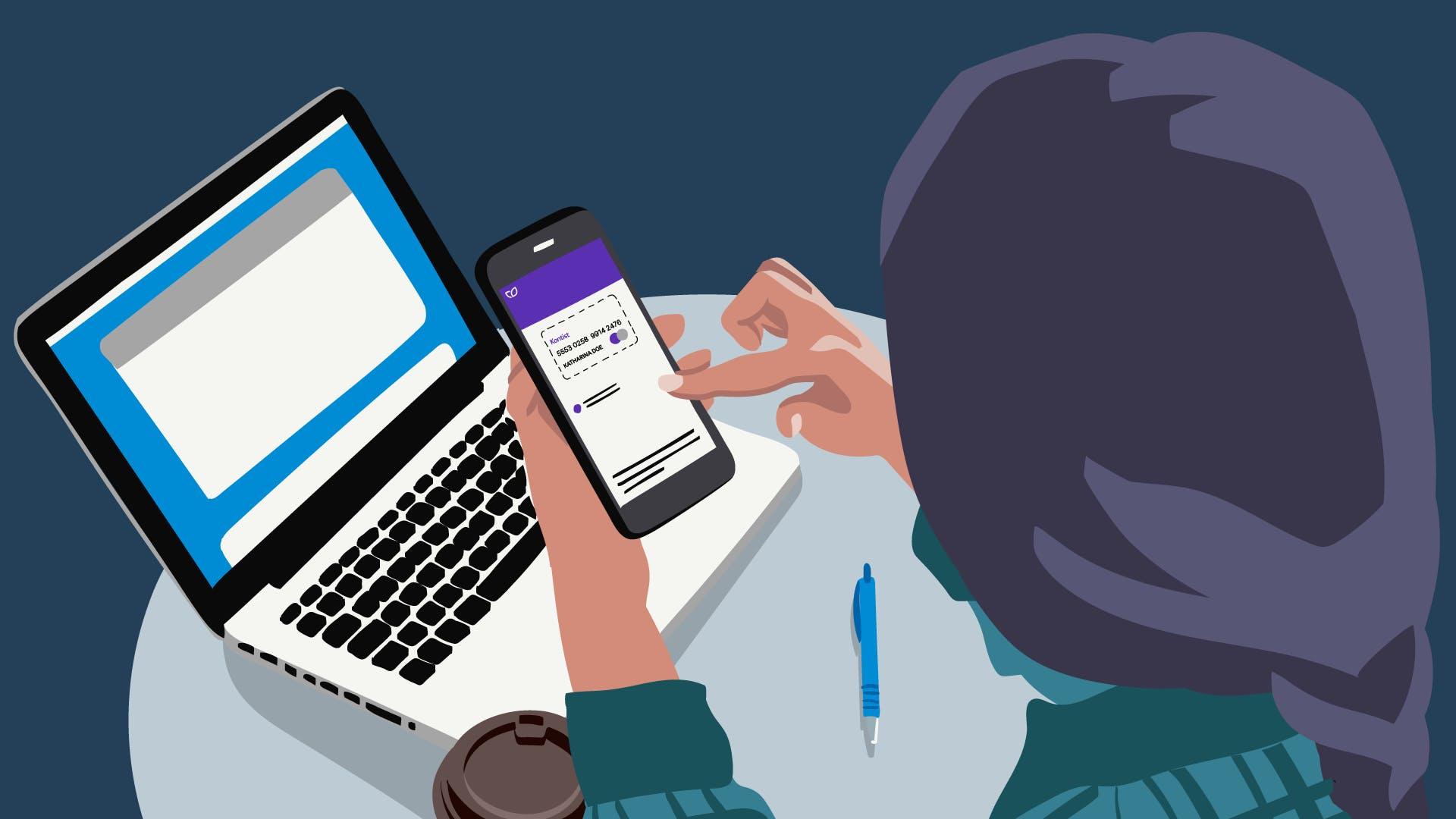Frau mit Smartphone in der Hand, nutzt die Kontist App - das digitale Geschäftskonto für Selbständige.