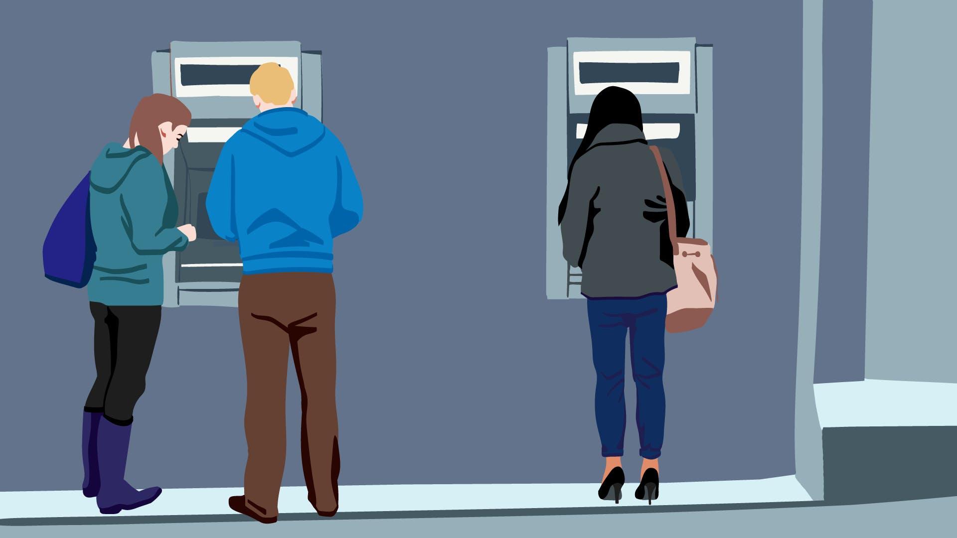 Vor einem Geldautomaten steht ein Mann mit weiblicher Begleitung und möchte Geld abheben.
