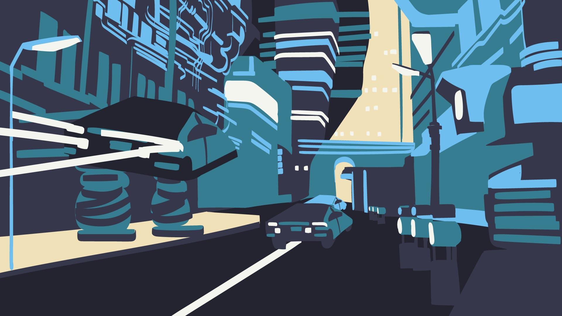 Futuristische Darstellung einer Straße um die Exklusivität der schwarze Kreditkarte von American Express auszudrücken.