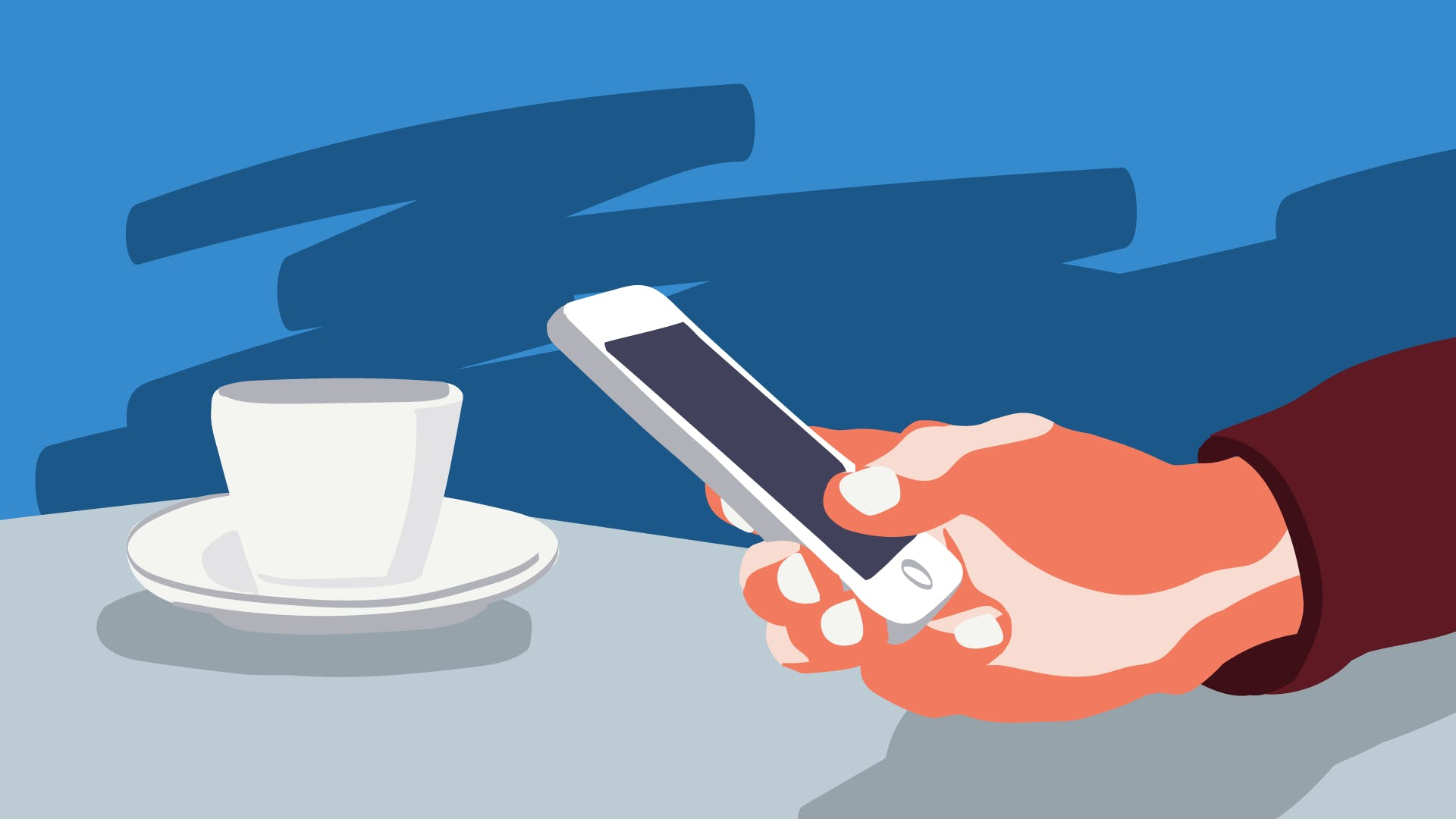 Ausgestreckte Hand eines Geschäftsmannes, die am Smartphone prüft, wie mit Instagram Geld verdient werden kann.