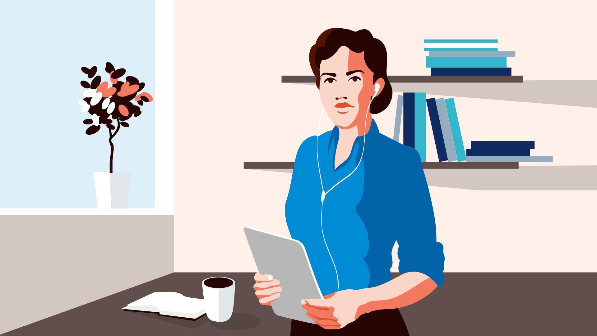 Frau in blauen Shirt mit einem Tablet in der Hand, hört über Kopfhörer, wie sich der Beitrag für die gesetzliche Krankenversicherung bei Selbständigen ändert.