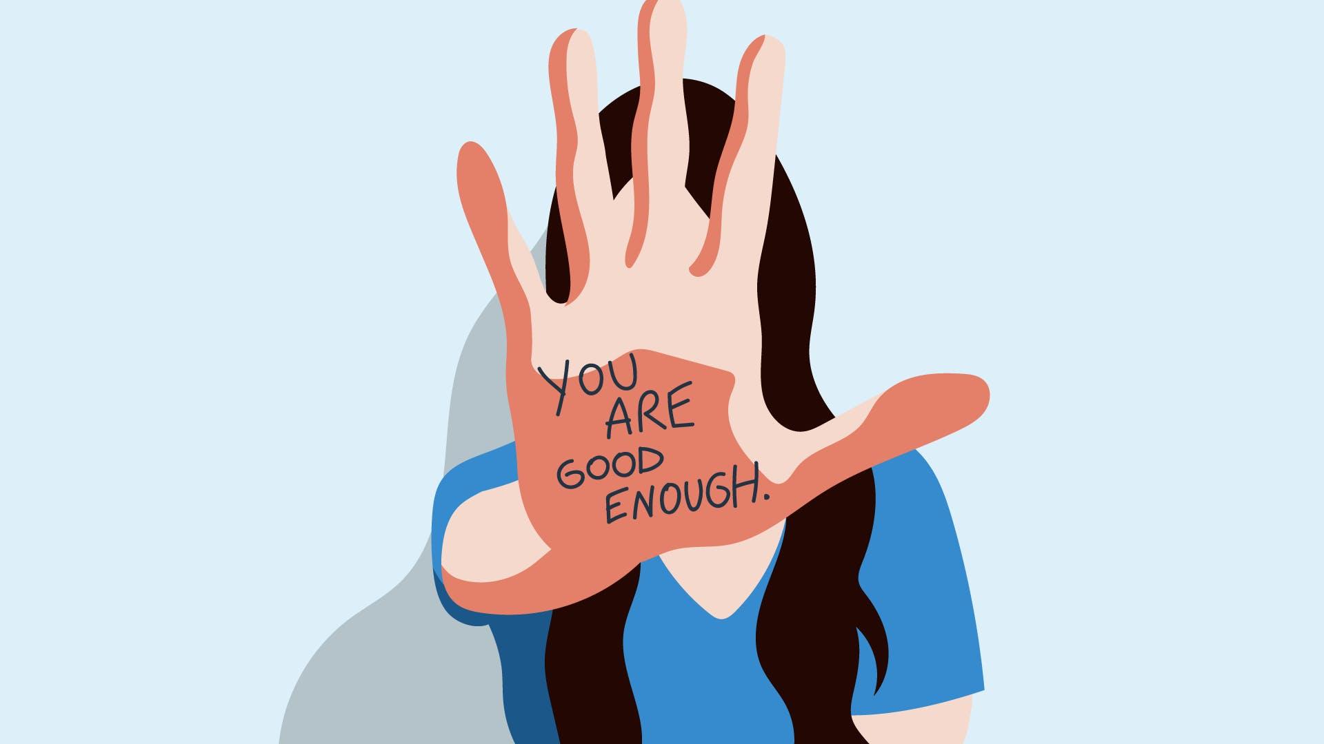 """Frau streckt Hand mit Schrift """"You are good enough"""" voraus, um klar zu machen, dass für nachhaltiges wirtschaften, höhere Stundensätze notwendig sind."""