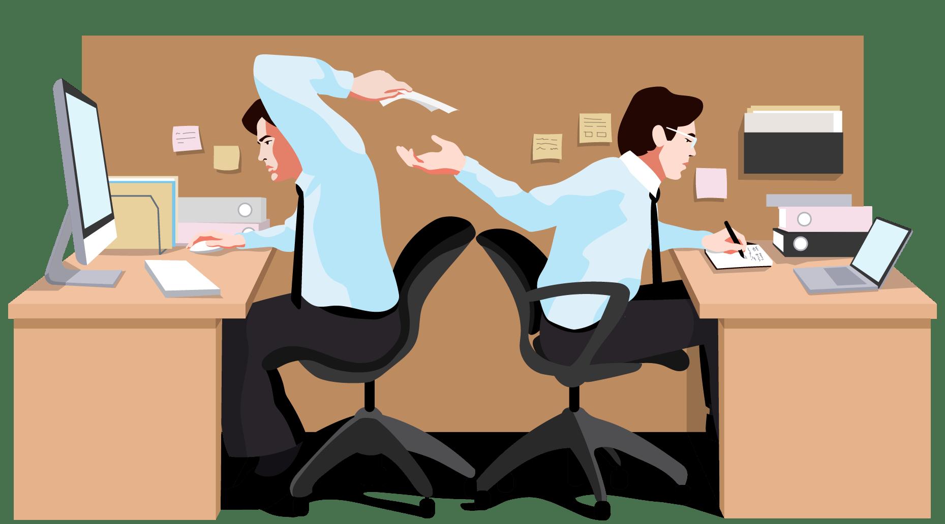 Zwei Büroangestellte reichen einander Papier während der Arbeit