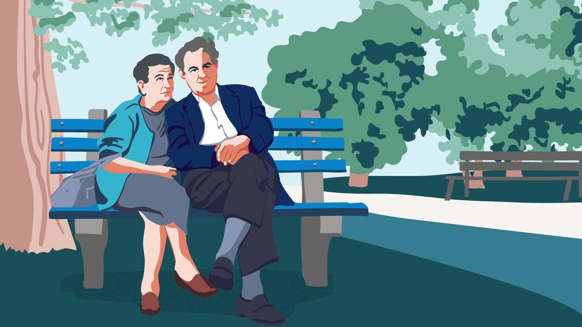 """Ã""""lteres Ehepaar sitzt auf einer Parkbank"""
