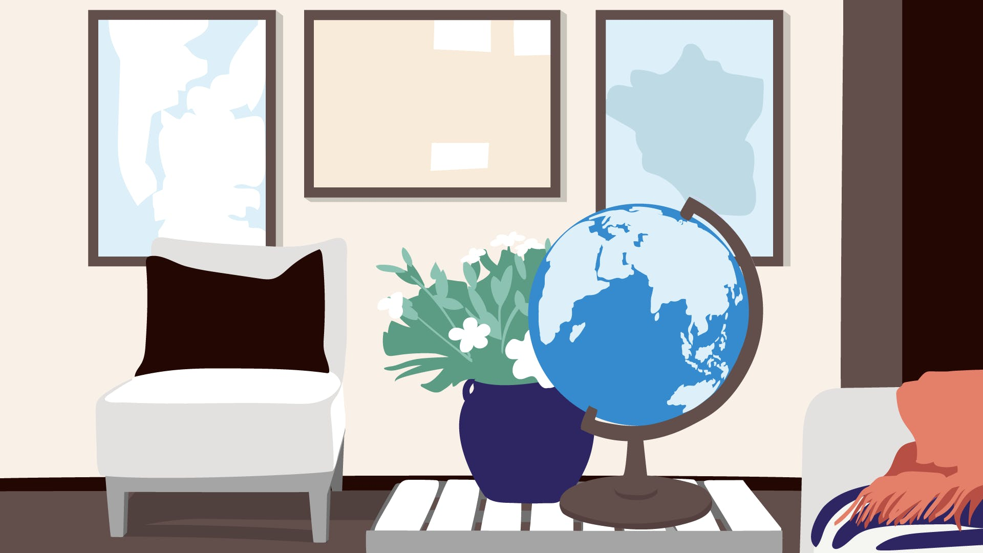 Globus und Bilder mit Landkarten für die Visualisierung von Finanzgeschäften ins Ausland.
