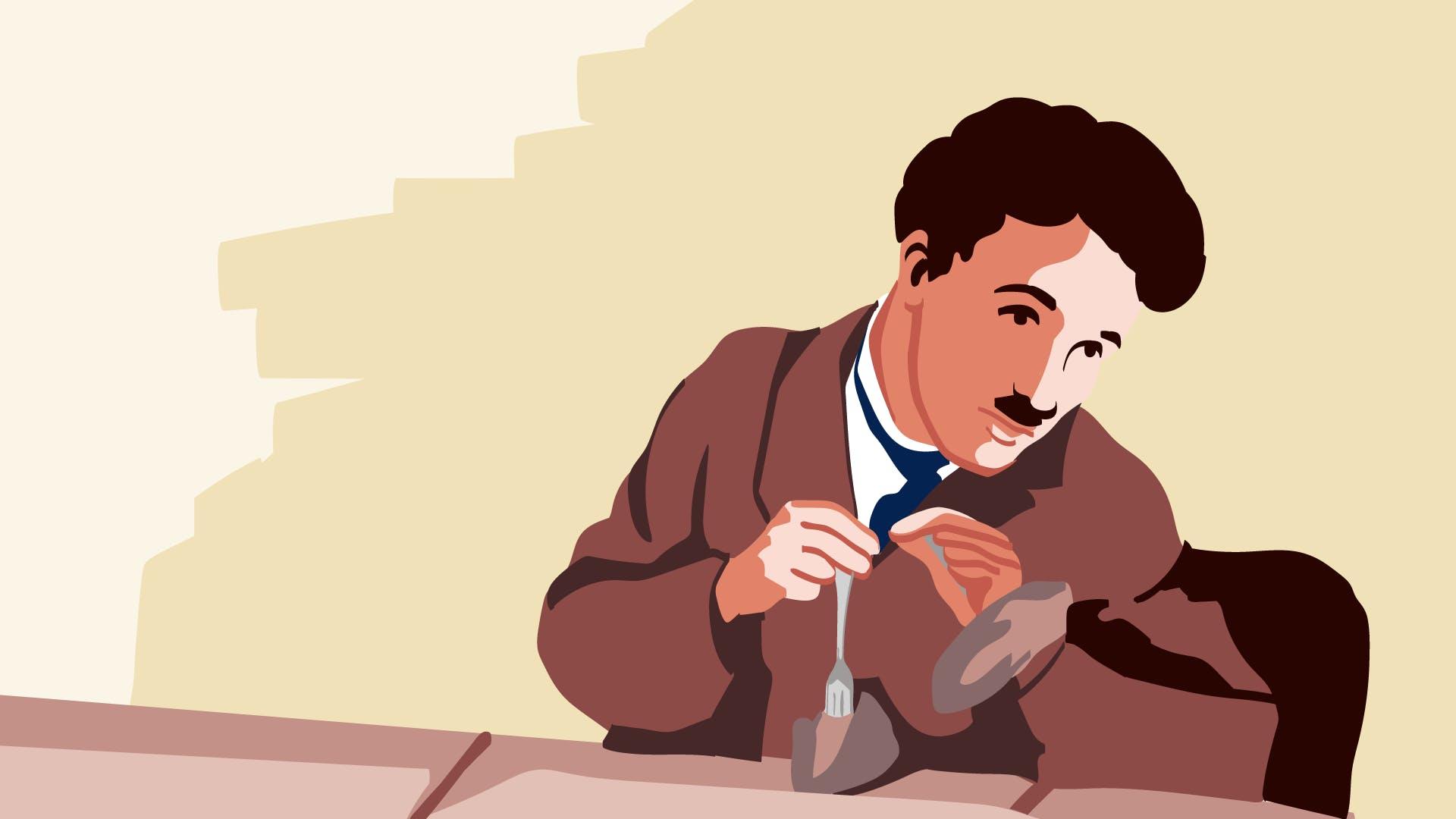 Charley Chaplin Illustration mit brauner Jacke - Sozialversicherungsausweis früher und heute.