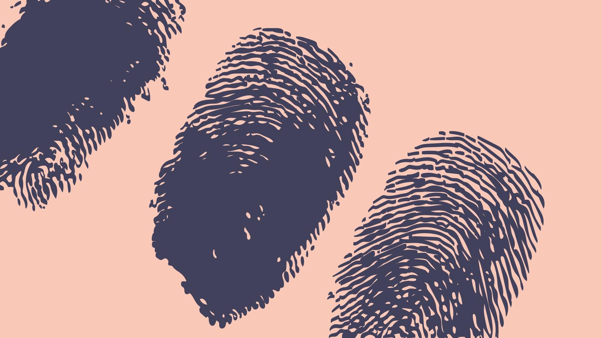 Drei Fingerabdrücke auf hellroten Hintergrund zur Frage, ob ich als Selbständiger die Umsatzsteuer-ID beantragen muss.