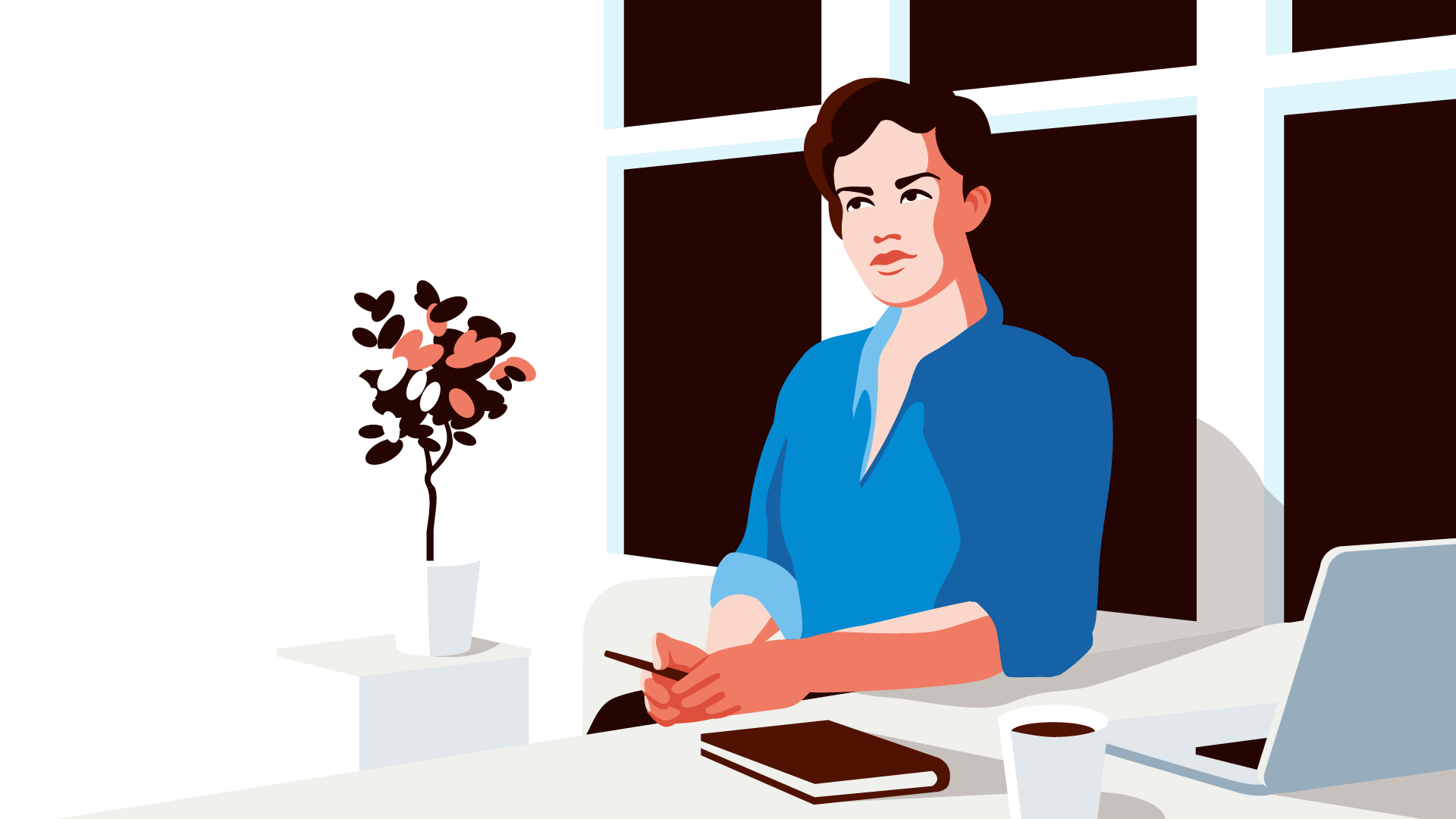 Selbstbewusste junge Frau im Home-Office: Mehr Kontrolle über das Business mit Echtzeit-Finanzinformationen.