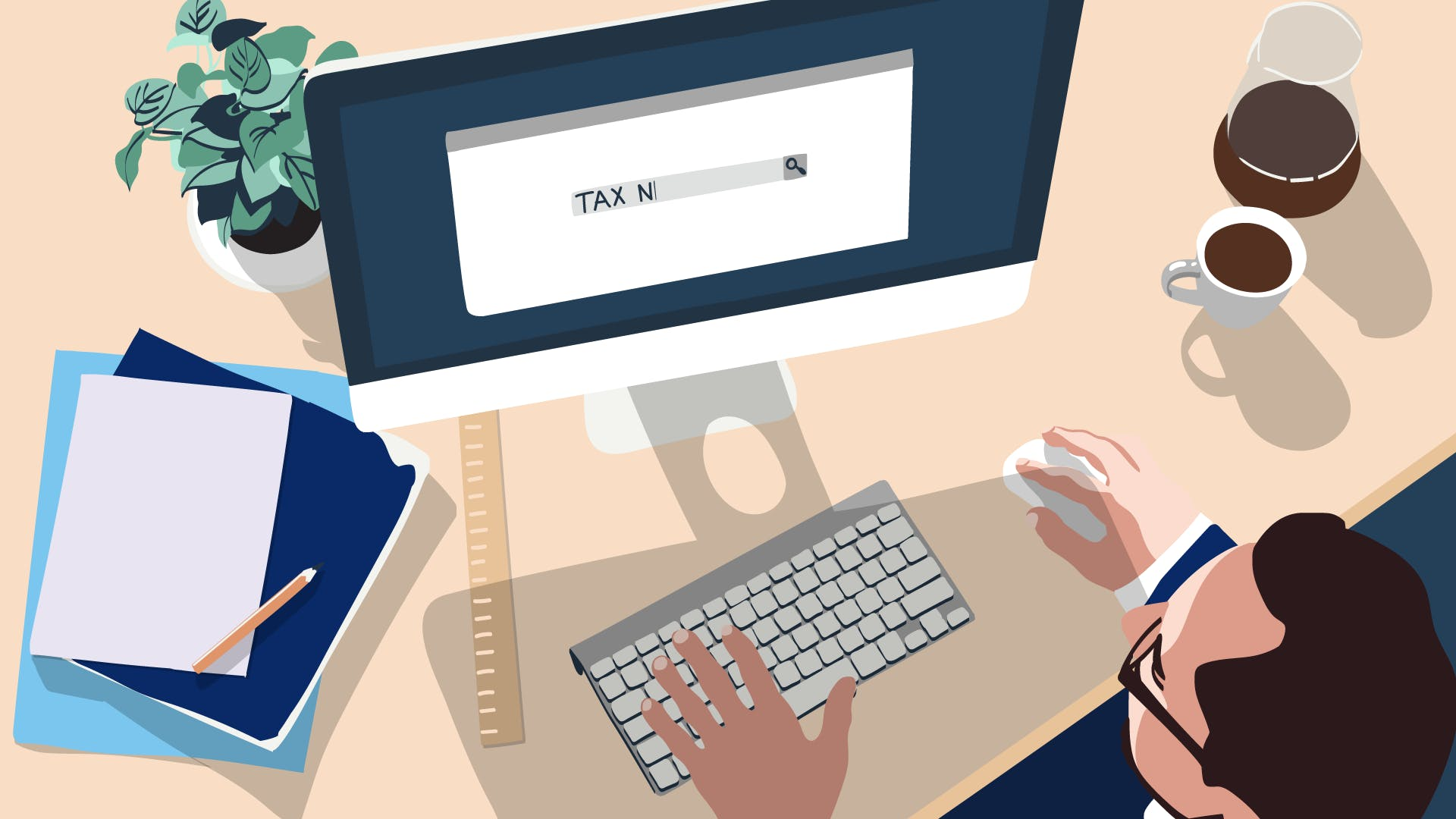 Geschäftsmann am Computer, beantragt die Steuernummer bei der Finanzbehörde.
