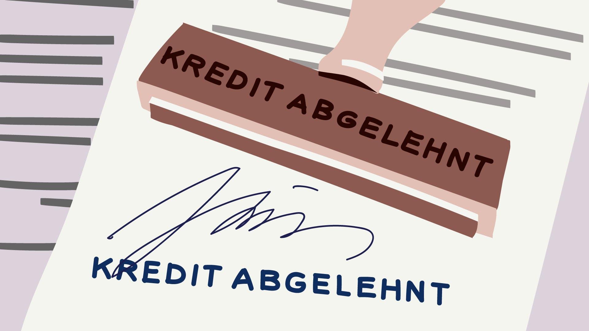 Offizielles Dokument, welches aufzeigt das ein Kredit für Selbständige abgelehnt wurde.