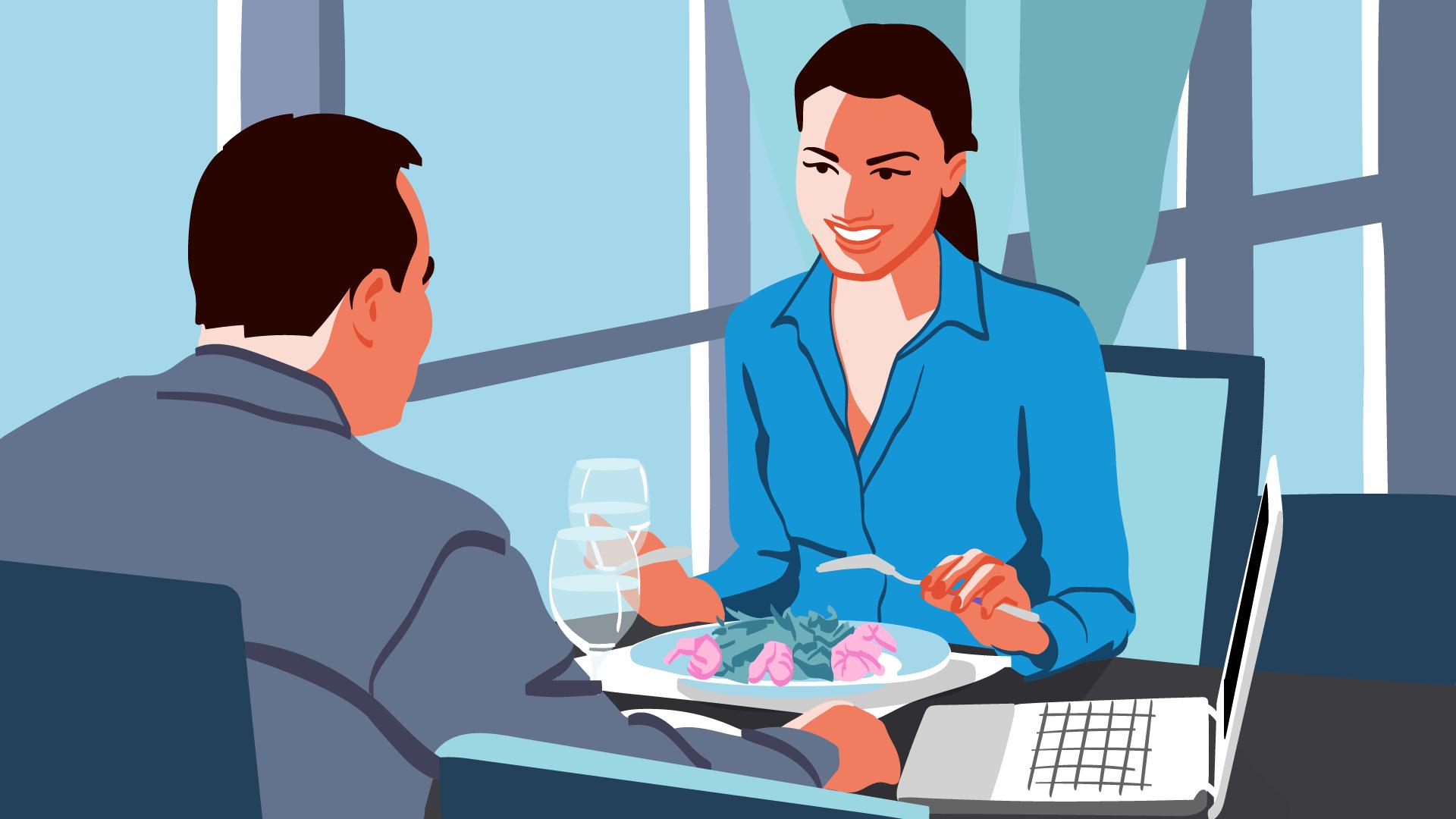 Zwei Geschäftsleute beim Essen: Der Verpflegungsmehraufwand sollte innerhalb der Reisekostenabrechnung berücksichtigt werden.