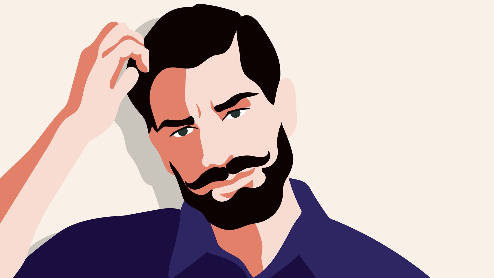 Nachdenklicher Geschäftsmann mit Schnurrbart: Wie kann ich Geld ins Ausland überweisen?