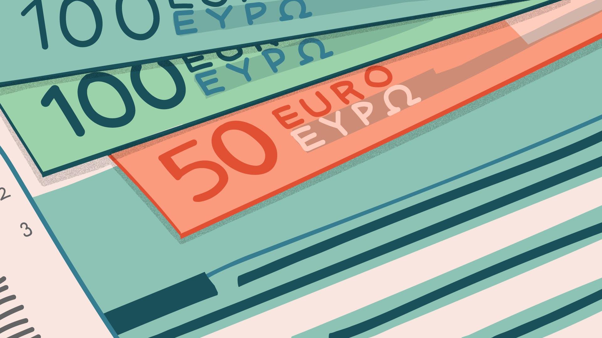 50 und 100 Euro Schein zur Visualisierung der Kosten für einen neuen Sozialversicherungsausweis.