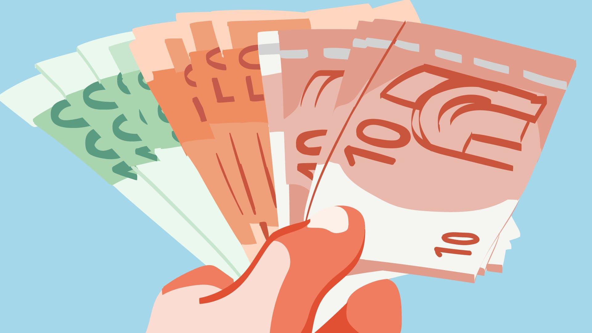 Veranschaulichung mit unterschiedlichen Banknoten, dass ein Kredit für Selbständige genehmigt wurde.
