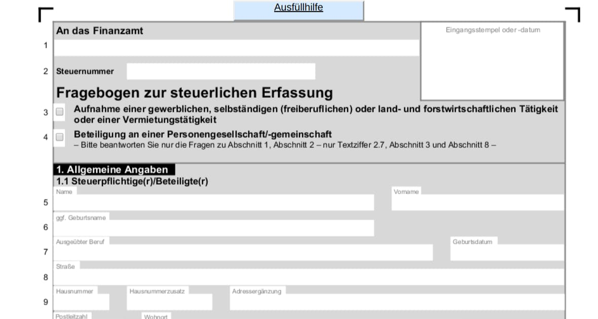 Fragebogen zur steuerlichen Erfassung für das Finanzamt.