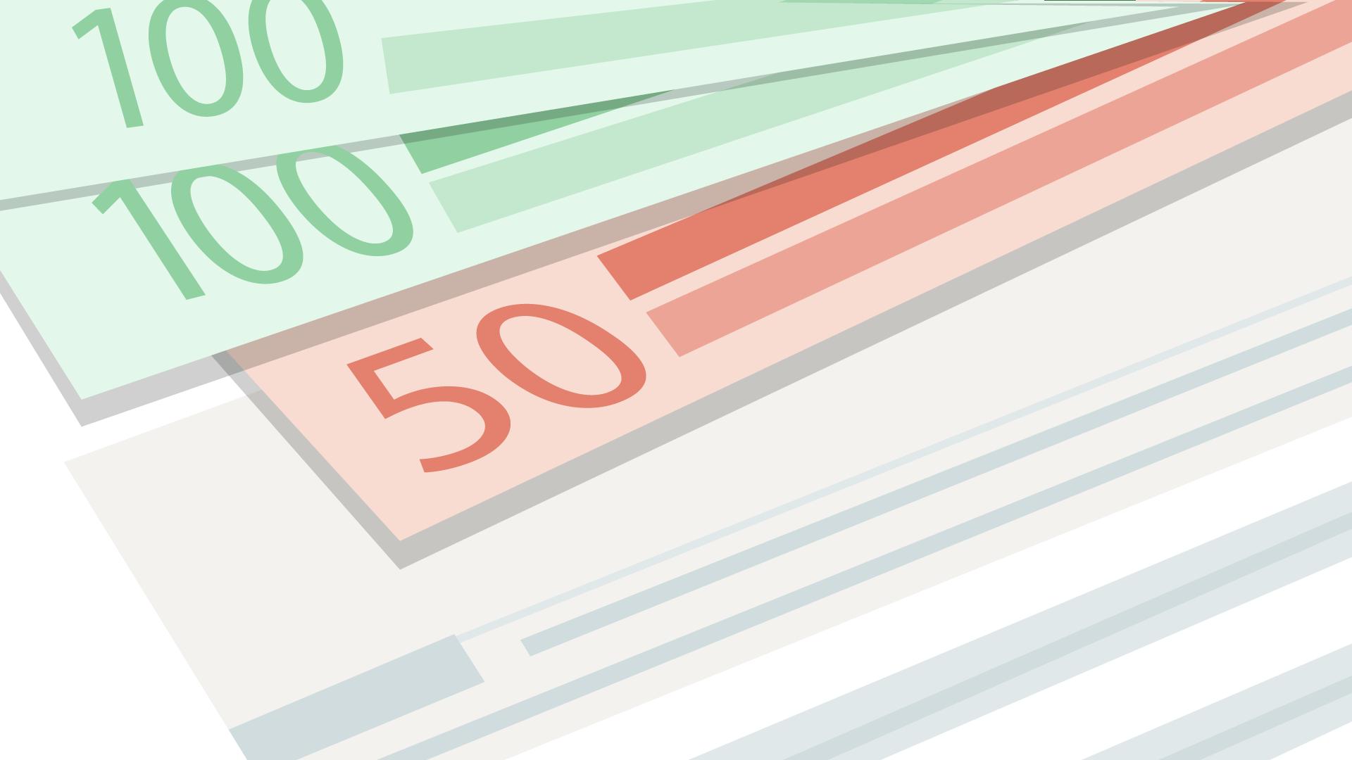 100 und 50 Euro Banknoten zur Klärung der größten Steuerfalle für Selbständige.