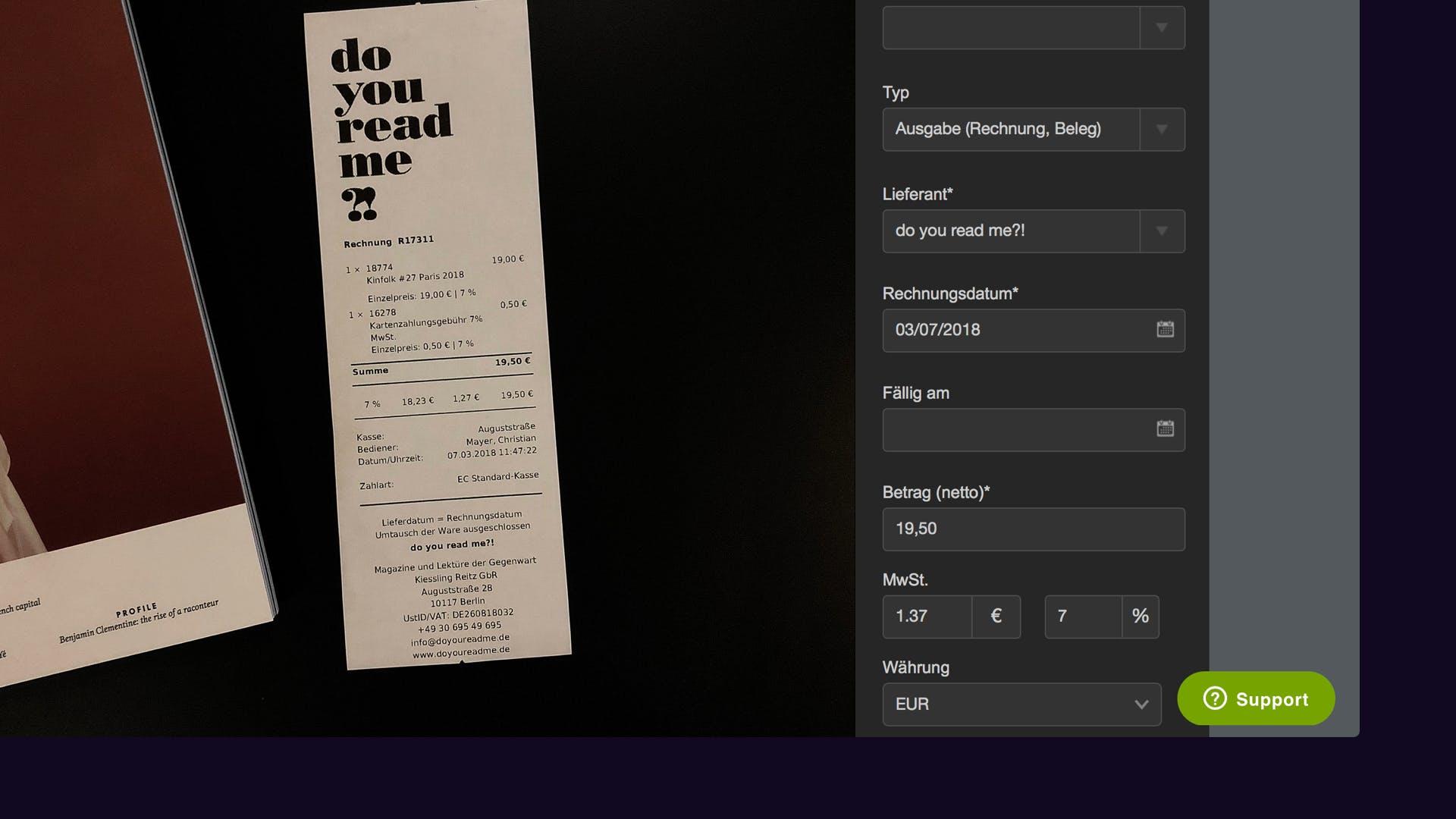Ausgabe Details in Fastbill hinzufügen