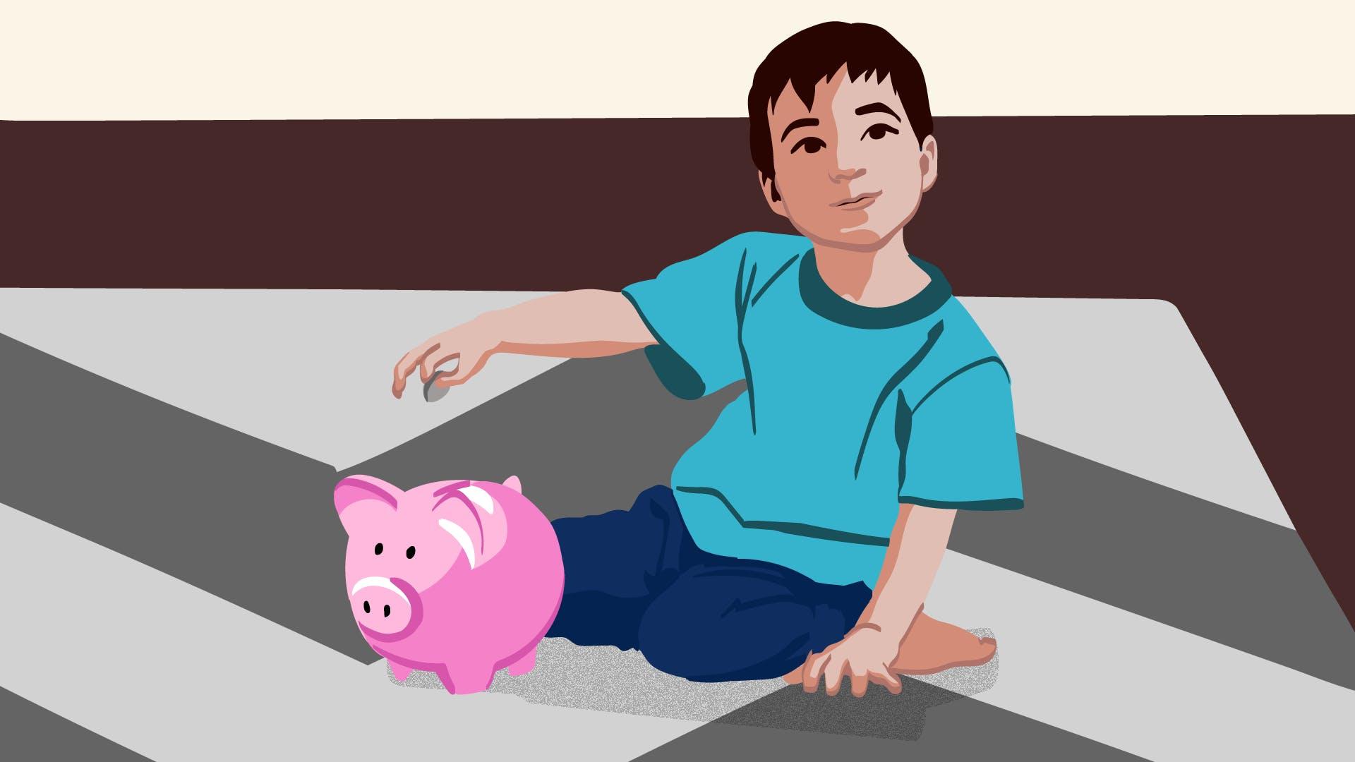 Sitzender kleiner Junge der eine Münze in ein rosa Sparschwein wirft, um aufzuzeigen, dass auch mit Instagram Geld verdient werden kann.