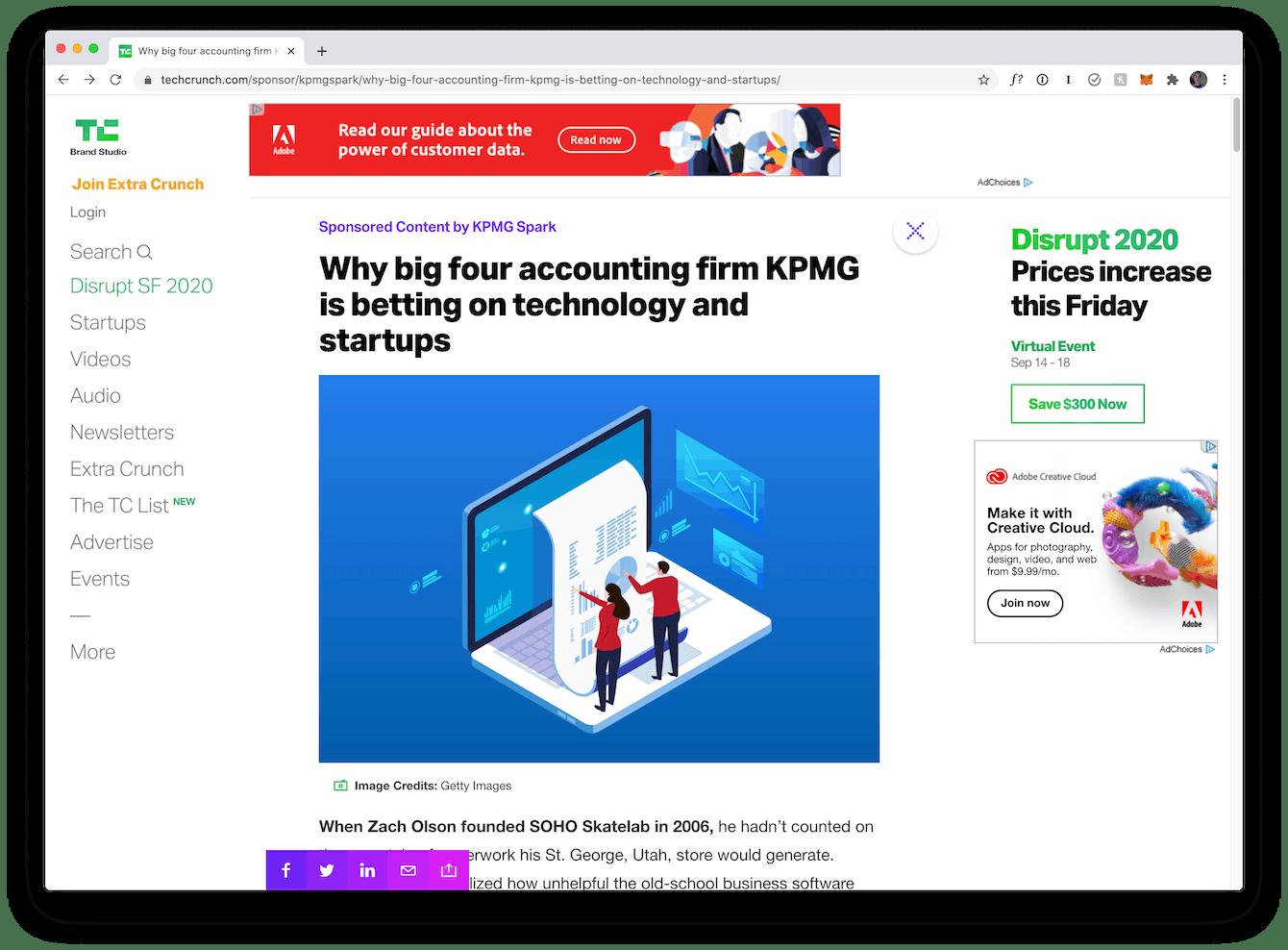 Screenshot of TechCrunch article about KPMG Spark