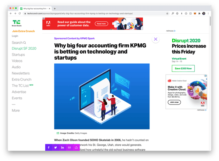 Screenshot of TechCrunch article about KPMG Spark