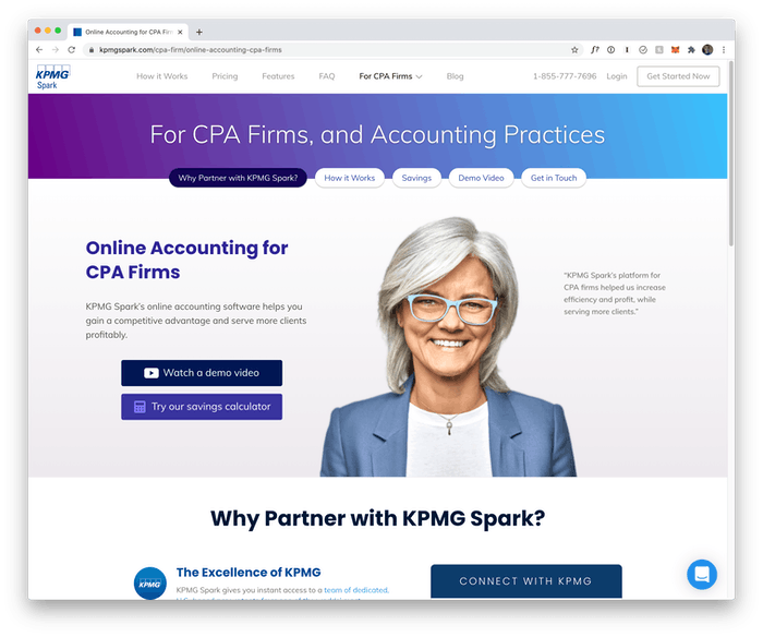 Screenshot of KPMG Spark website for CPA Firms and Accounting Practices