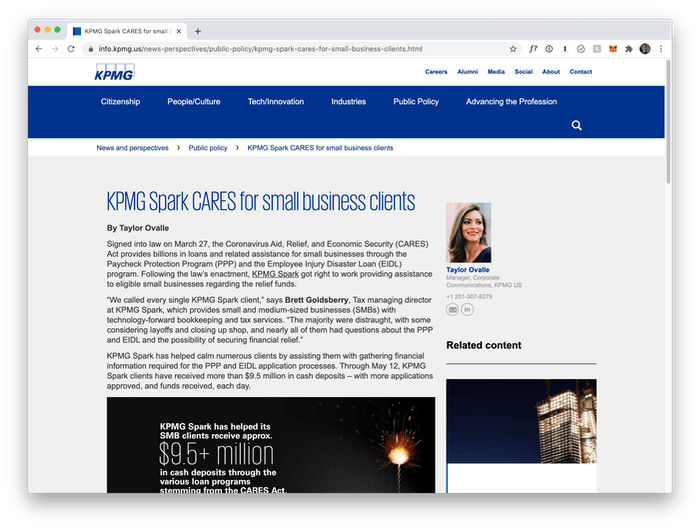 Image of KPMG.us website post about KPMG Spark's efforts to support clients around the CARES act