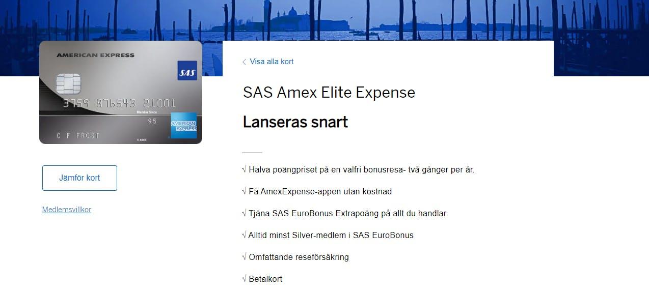 SAS Amex Elite Expense