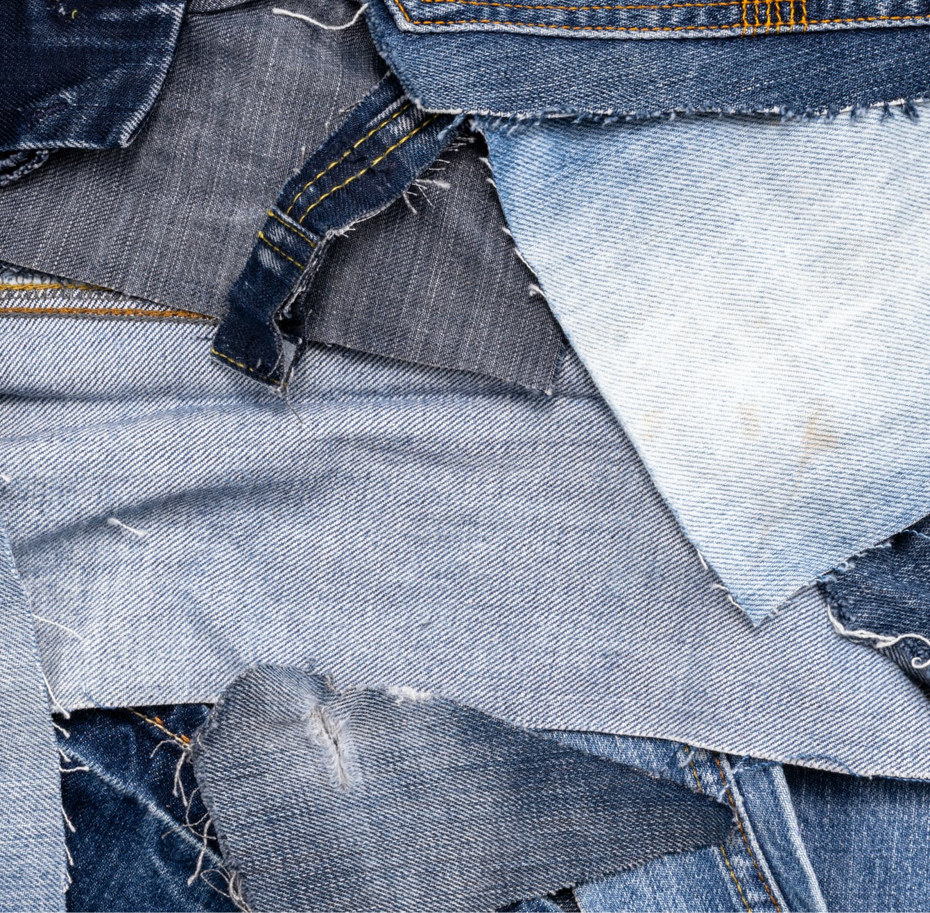Cut up pieces of jean fabric