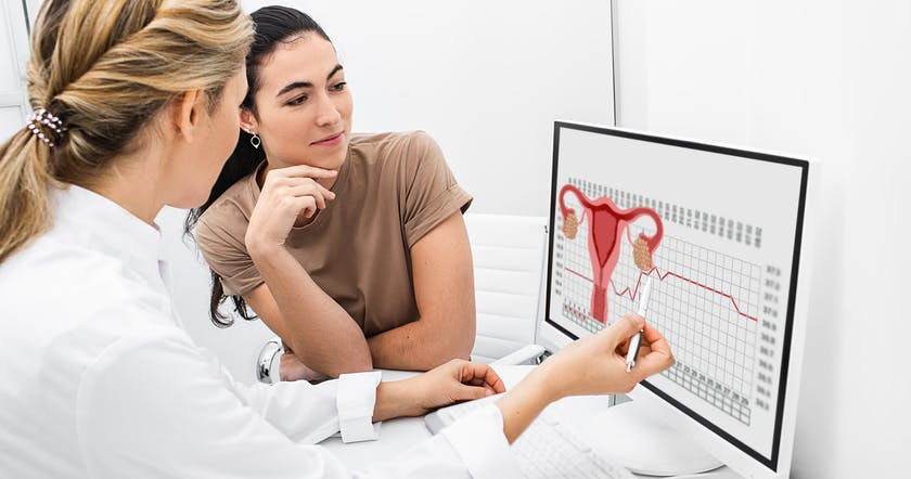 Decorative: Doctor and patient viewing ovarian test results on a computer