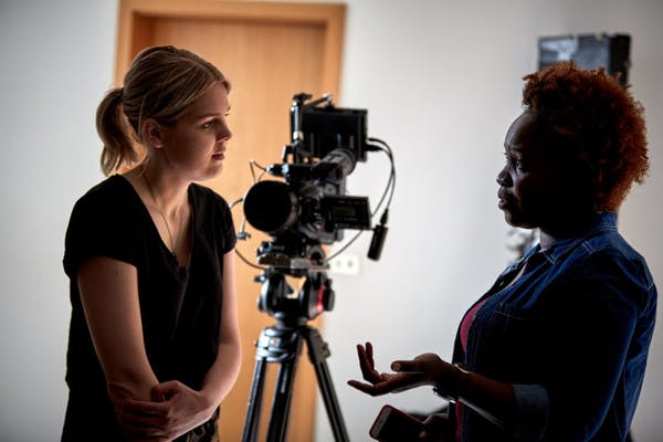 Helena Rakel, director, with actress Enid Mbabazi