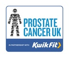 Prostate Cancer and Kwik Fit partnership logo.