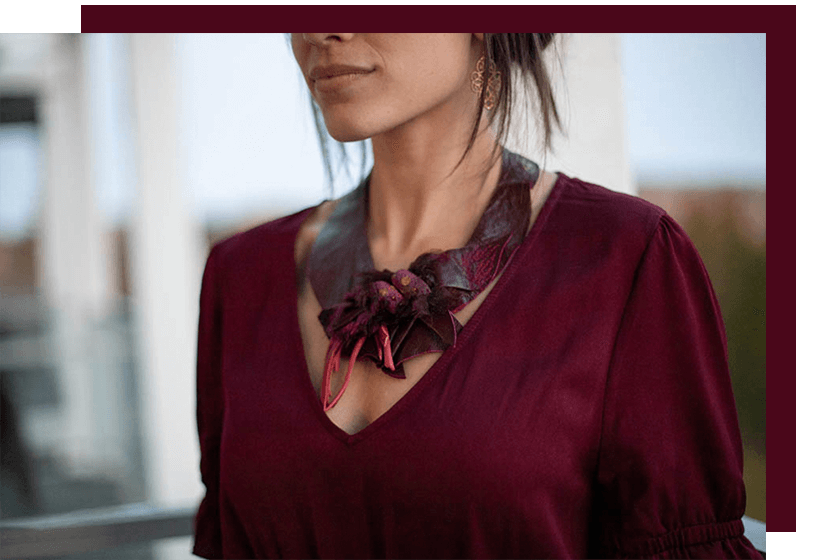 Necklace - Leather - Red - La Bete