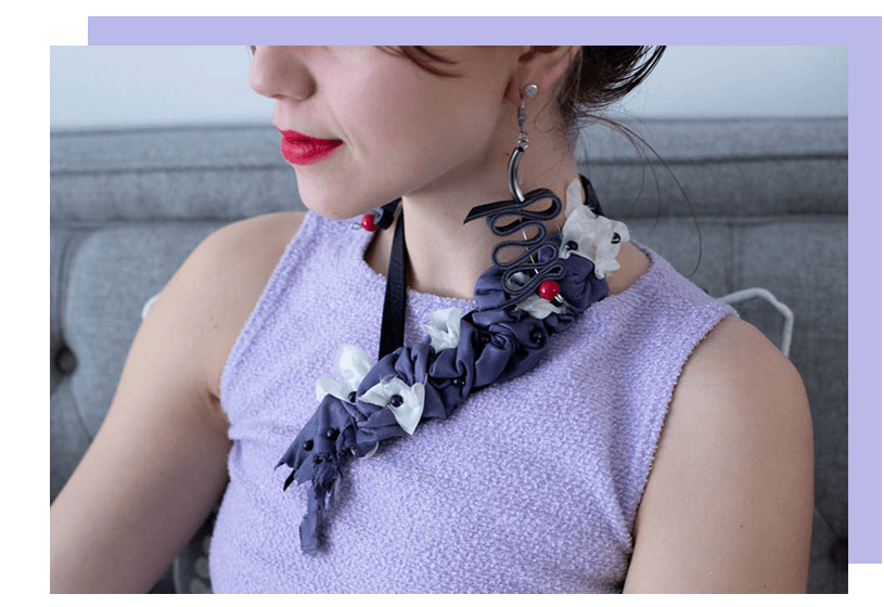 Necklace - Leather - Purple - La Bete