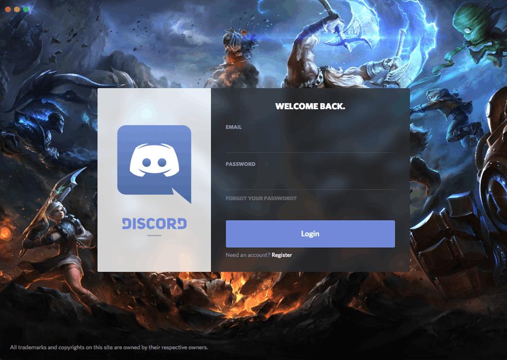 Discord log-in screen