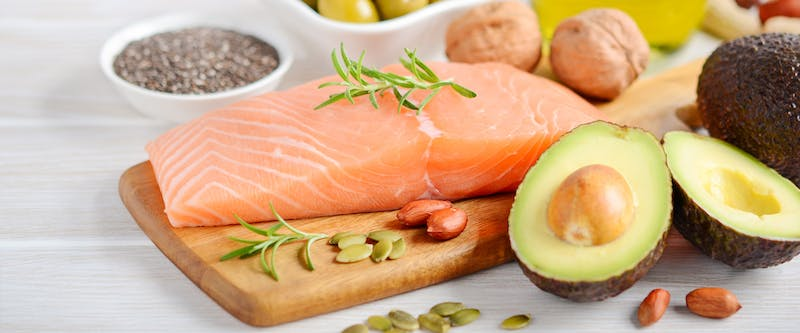 Food with omega3 acids - salmon, avokado, nuts - to superpower your brain