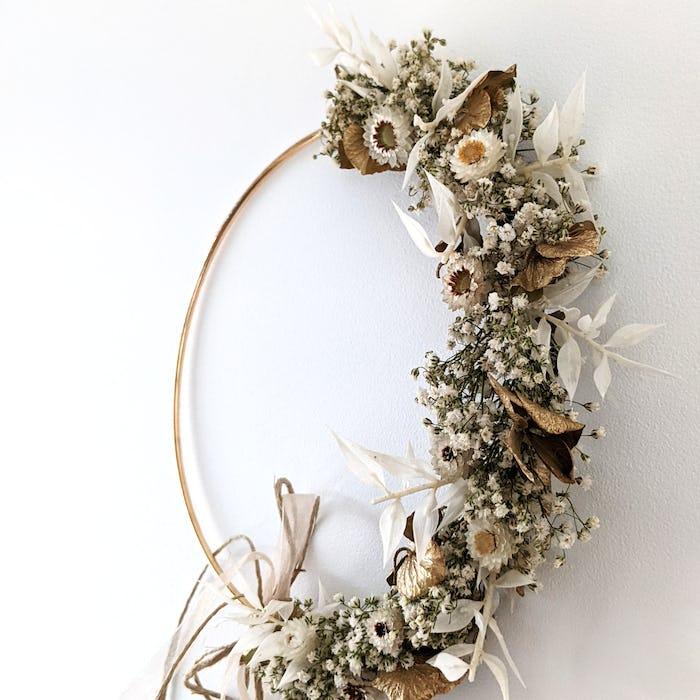 """Couronne de fleurs séchées """"Gold"""""""