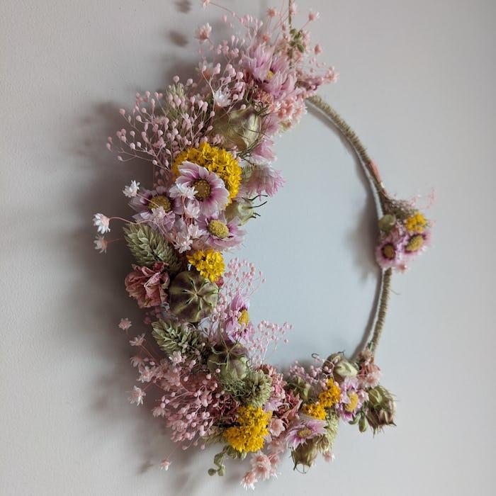 """Couronne de fleurs séchées """"Renaissance"""""""