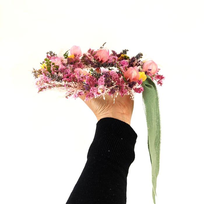 """Couronne de fleurs séchées """"Bohème"""""""