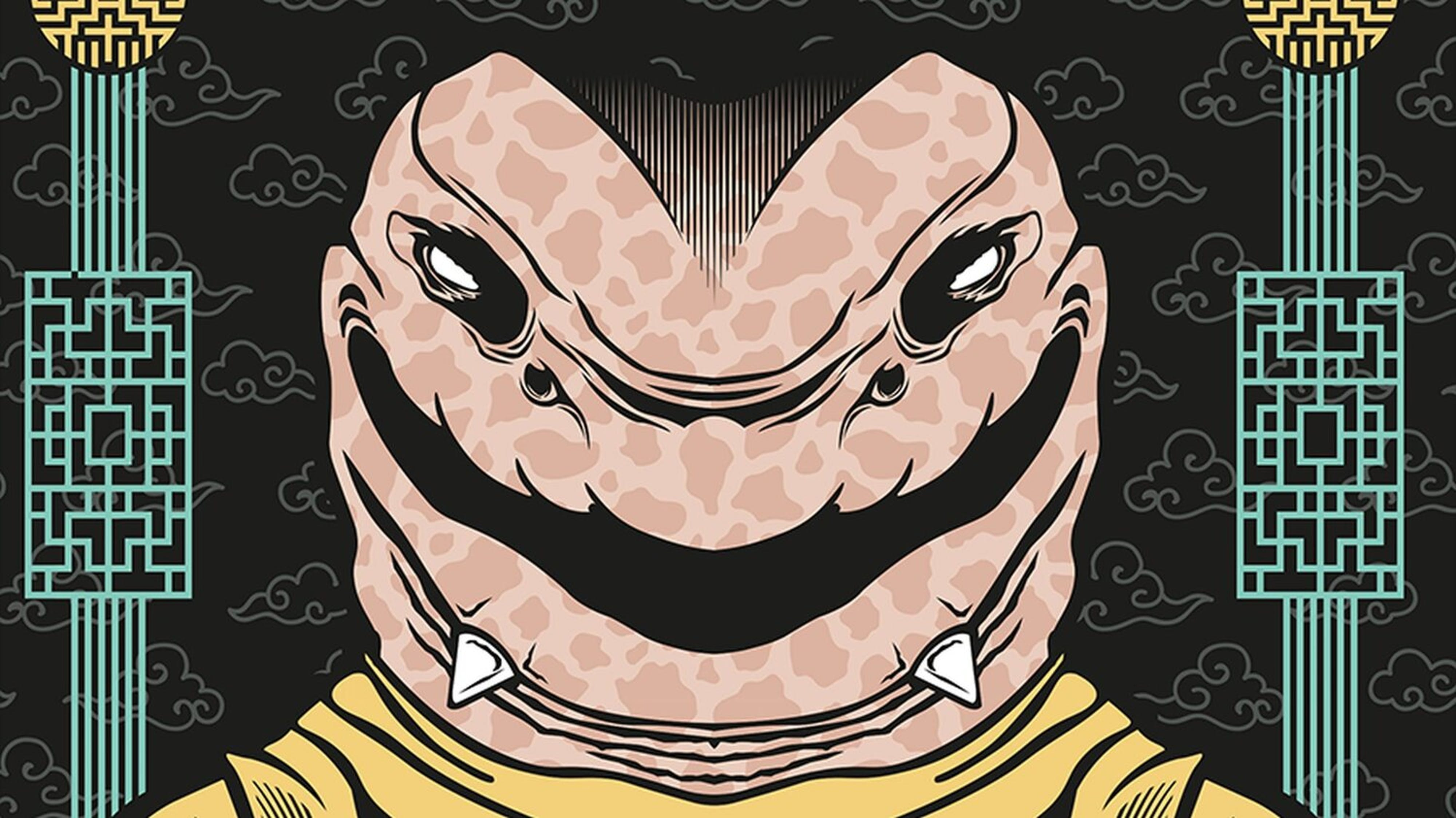 Cover art by Joshua Mendenhall for Unbreakable volume 1, featuring a smiling snake with two sharp horns protruding from its chin.