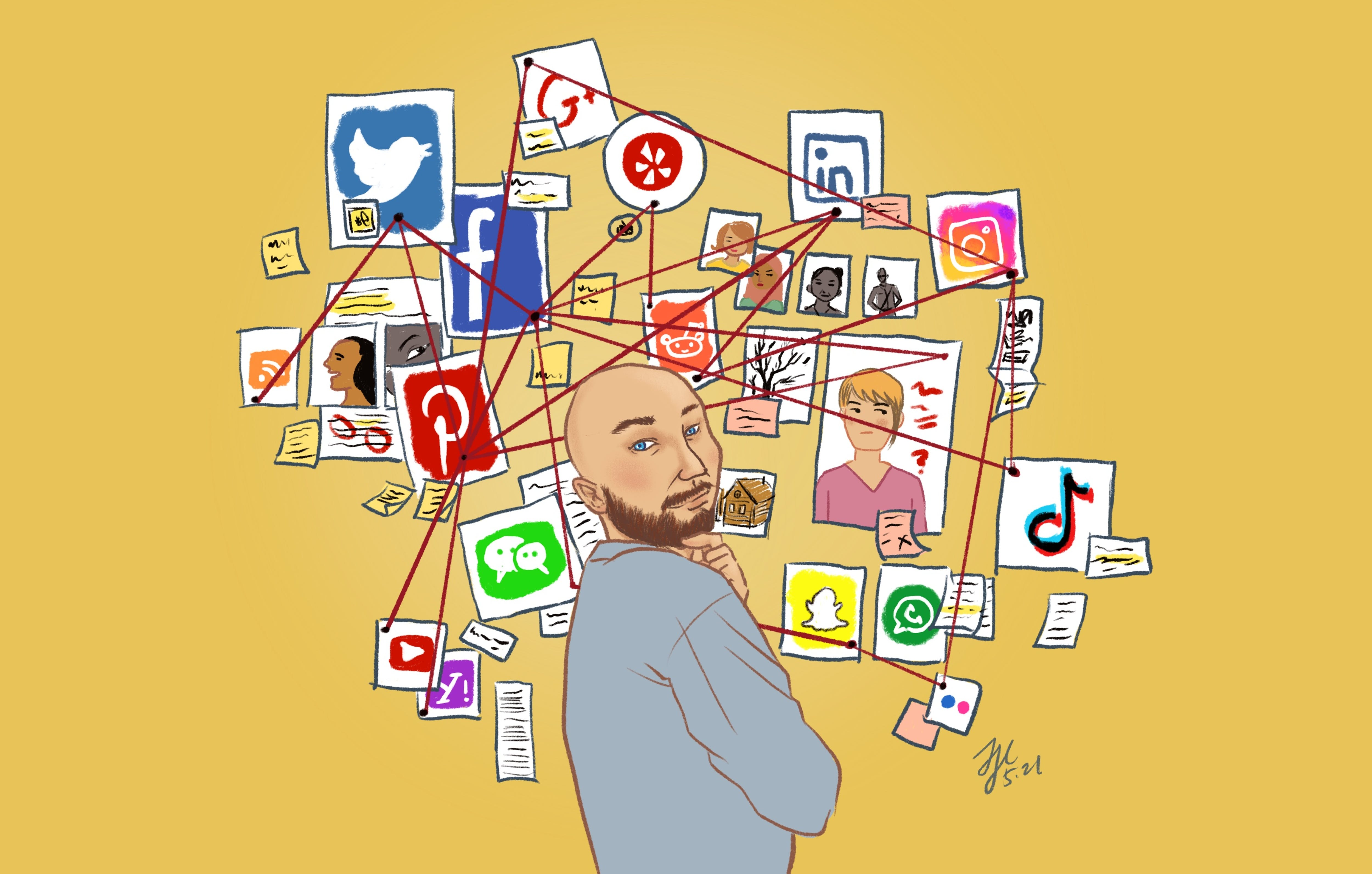 Illustration of Anthony Kelly, standing over a pinboard joining many different social media logos and other communications themes.