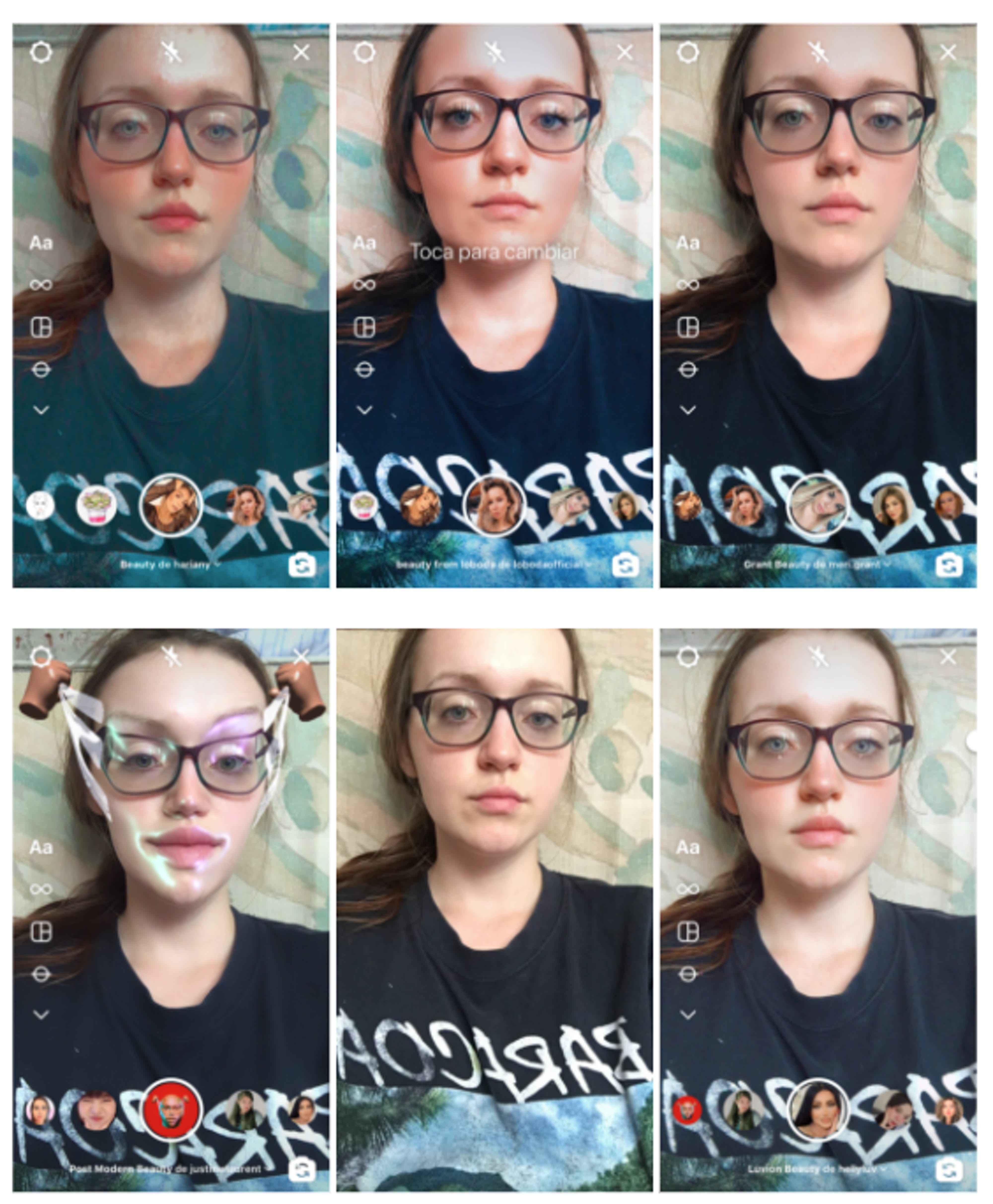 An example of six filters the author has tried on herself, including redder lips and cheeks, paler skin and even a filter that appears to plastify and lift her features.
