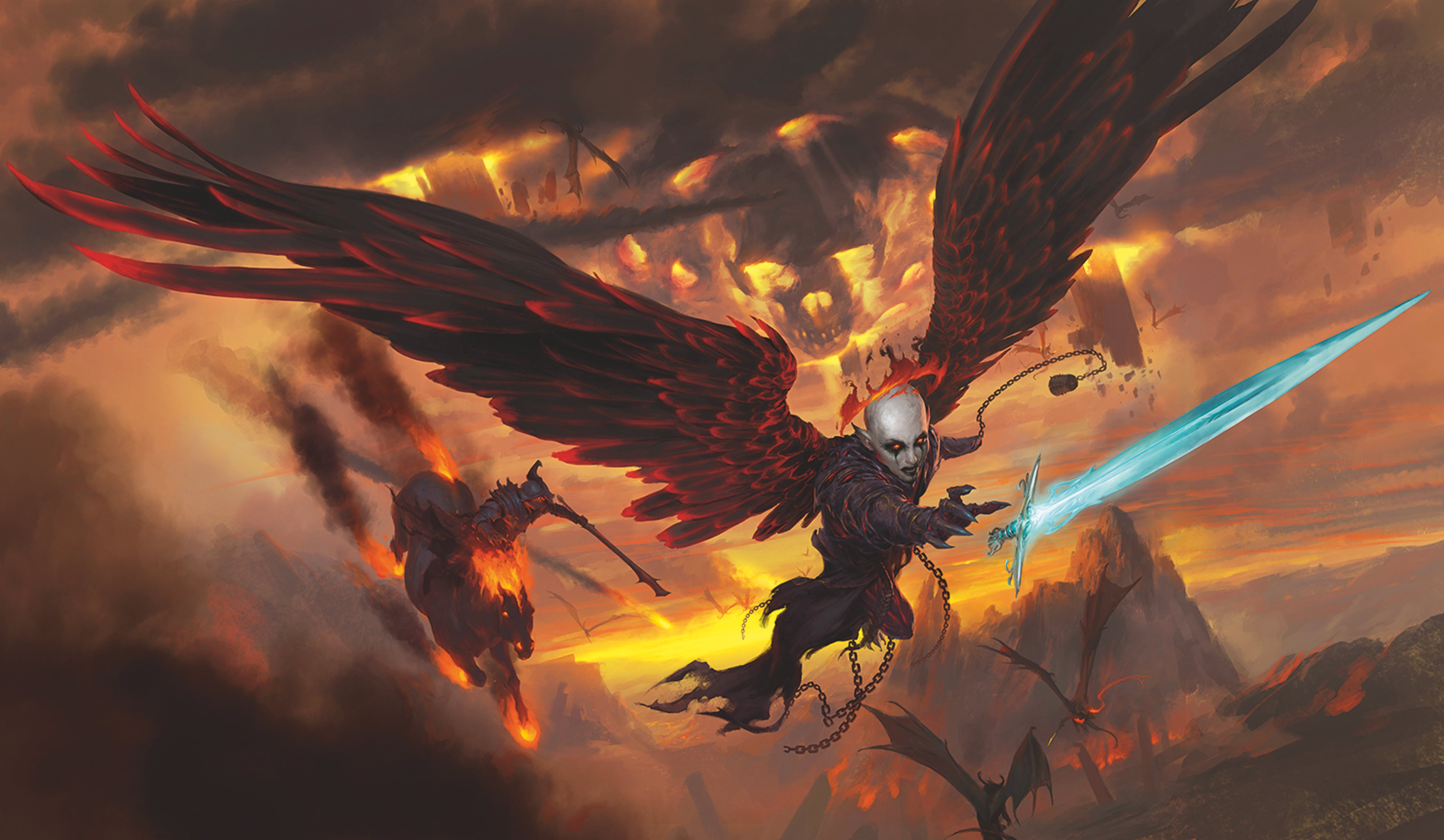 Key art for the Dungeons & Dragons adventure Baldur's Gate: Descent into Avernus, featuring a winged character flying through an apocalyptic eye, reaching for an icy sword.